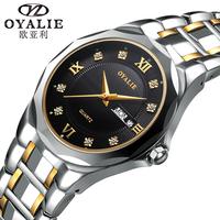 OYALIE Brand Luxury Tungsten Strap Date Day CZ Diamond Men's Sports Watch Women Dress Watches Fashion Quarzt Wrist Watch 7712