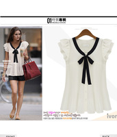 Spring 2014 New OL commuter / Formal Casual Butterfly Sleeve Chiffon shirt  Pure color with short sleeves r332