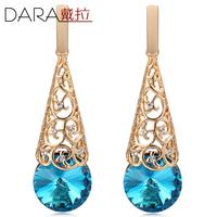 Austrian Blue Crystal Earrings Long Drop Earring Rose Gold Plated Trendy round Bijouterie Wholesale for Women Earring 2014 TE275