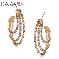 Popular fashion gold full rhinestone Multi-turn earrings big circle drop earrings TE199