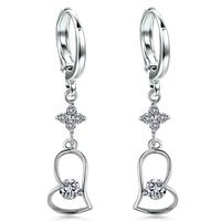 Sterling Silver Drop Earrings Full CZ Zircon Romantic Wedding Party Love Heart Purple/White Crystal Simple for Girls TE240