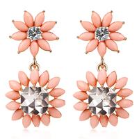 Fashion Rhinestone Resin Combine Big Flower Statement Punk Earrings For Women Free Shipping TE215
