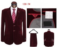 2014 slim wool suit best quality two button famous blue mens fitted suit plus color size S-4XL