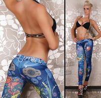 1pcs Women Fashion leggings faux denim jeans looks ladies' skinny leggings pencil pants slim elastic stretchy jegging