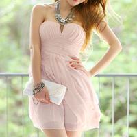 Women Sexy Elegant Pink Strapless Backless Chiffon Pleated Graduation Dress Free Shipping