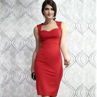2014 new Fashion women's red belt cup deep V-neck empty thread sleeveless slim hip sexy one-piece dress HF6185 Free shipping