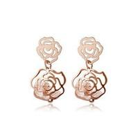 Wholesale Women Jewelry Hollowed Rose Stud Earrings Zircon Earings Crystal Earrings Stud ML-703