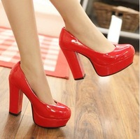 freeshipping women's Patent leather pumps 35-39 red black white beige wedding high heels shoes platforms pumps