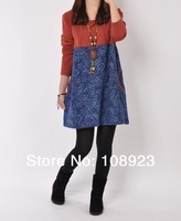 Tribal style free shipping long sleeve loose dress for pregnant women a9065
