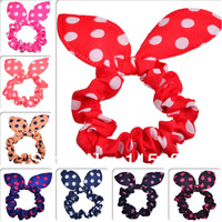 lovely cute rabbit ear hair band Dot Fabric Rabbit Ear hairbands for girls and women Hair rope wholesale 40pcs/lot