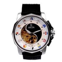 Free Shipping New 2014 Men Nylon Strap Mechanical Hand Wind Watches Vintage Skeleton Calendar Analog Relogio Masculino Rose Gold