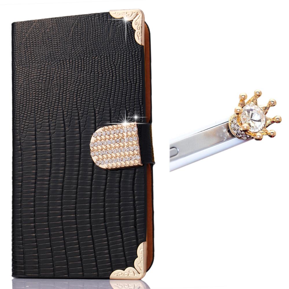 Black Luxury Flip wallet cover for Samsung Galaxy Note 2 N7100 handbag case + Bling diamond crystal dust plug free shipping(China (Mainland))