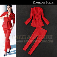 Fashion spring 2014 women's red suit western-style trousers set suit twinset