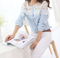 2014 New Spring Elegant Cutout Turn-down Collar Long-sleeve Women's All-match Chiffon Slim Lace Shirts & Blouses Pink Blue White