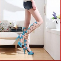 2014 women's shoes gladiator style  cutout cross straps ultra thin heels high heels sandals size 35-43 free shipping