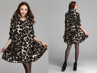 2014 High Quality New Spring Ladies Leopard Big Botton Lapel Loose Trench Coat For Women Clothing Free Shipping