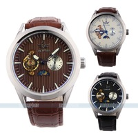 New fashion fully  automatic watch men mechanical skeleton leather strap Free shipping  3 colors to choose
