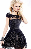2014 A-line Scoop Cap Sleeves Beaded Lace Black Backless Short Mini Homecoming Cocktail Dresses