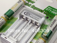 New Cheaper BTY 4*3000mah 1.2V Rechargeable Battery AA +  AAA/AA Battery charger Free Shipping