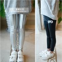 5pcs Children girl's Spring child shiny legging elastic waist slim all-match ZT58 0.4 skinny pants