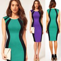 New 2014 Classic Design Formal Summer Back Zipper Bodycon Women Dress Knee Length Patchwork Evening Party Pencil Dress S-XL