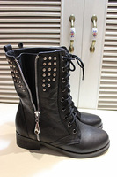 Vsv 2013 full genuine leather all-match in with the boots zipper rivet boots