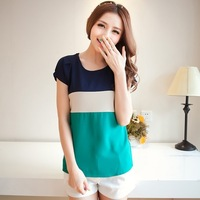 Women's short-sleeve o-neck patchwork plus size loose chiffon shirt t-shirt summer clothes trend