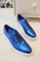 Vsv 2014 fashion full genuine leather round toe platform wedges shoes lacing