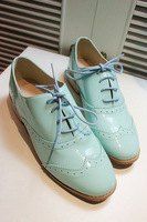 Fashion vintage vsv2013 full genuine leather cow muscle outsole lacing preppy style flat heel single shoes female
