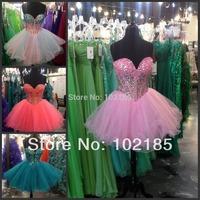 Light Pink And Royal Blue Crystals Rhinestones Designer Girls Dresses Tulle Short Prom Dress Cocktal Party E10