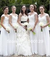 Elegant Custom Made White Pleated Chiffon A-Line Cap Sleeves Long Party Dresses Bridesmaid Dresses