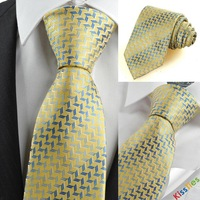100% silk FREE SHIPPINGYellow Golden Blue Diamond Pattern Men's Tie Nec#ie Formal Holiday Gift #0090