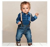 BA037,5 sets/lot brand baby clothing set boy striped 2 pcs suit bodysuit+jean pant autumn infant garment Wholesale Free shipping