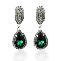 New 2014 brand fashion AAA cz diamond brand earrings jewelry,5 colors water drop svarovski crystal dangle/drop earring for women