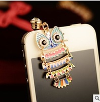 Min.order is $ 10 (Mix order) Free Shipping new 2014 Owl dust plug earphone jack phone accessories anti dust