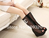 2014 Classic Hot Sexy women's mesh sandals peep toe platforms pumps Muffin bottom side zipper Within the higher party shoes