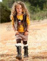 QZ019,5sets/lot in stock girls fashion cotton vest + T-shirt + shorts 3 pcs set baby autumn wear children leisure suit wholesale