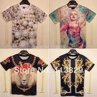 [Magic] HOT ! New ! 3D t shrit women 2014 fashion t-shirt short sleeve o neck summer cotton tshirt 21 models free shipping