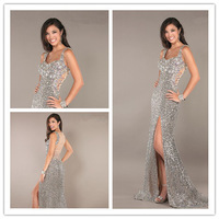 Hot Sheath Spagetti Straps Sleeveless Court Train Lace Silver Squins Slit Women Evening Prom Dresses Prom Gown