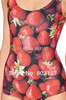 New 2014 Women Print Bikini Set Bodysuit STRAWBERRY Piece SWIMSUIT Swimwear Black Casual Wetsuit Drop Ship Hot Sale S125-133
