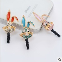 Min.order is $ 10 (Mix order) Free Shipping long ears bunny dust plug cell phone plug charms accessories for mobile phone