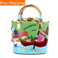 Bohemia Style Print Chain Drawstring Bucket Bag Women Messenger Bag Celebrity Girl Faux Leather Handbag Tote Shoulder Pu Bags