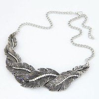 GXL8065 Retro Rhinestone Leaf Choker Necklaces 2014 New Vintage Design Jewelry Gift For Women Free Shipping