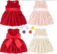 Rose vest dress girls dress children's summer models three-dimensional flower princess dress big bow belt party Birthday Gift