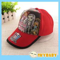 Newest Children Monster High Baseball Hat  European Style Baby Girls Peak Cap Red Pink Adjustable Kids Sun Hat