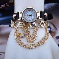 2014.Summer fashion popular Hawaiian style latest shiny diamond ms long leather chain hoist quartz watch