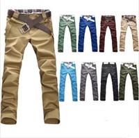 Free shipping 10 Color summer lattice stitching men's casual pants Korean Brand men's pants Fashion men's trousers M.L.XL.XXL