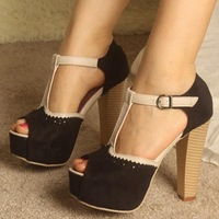 10-248 Free Shipping Fashion Women's Thick with Sandals High Heel Shoes New Elegant Sexy Lady's Platform Dance Party Pumps