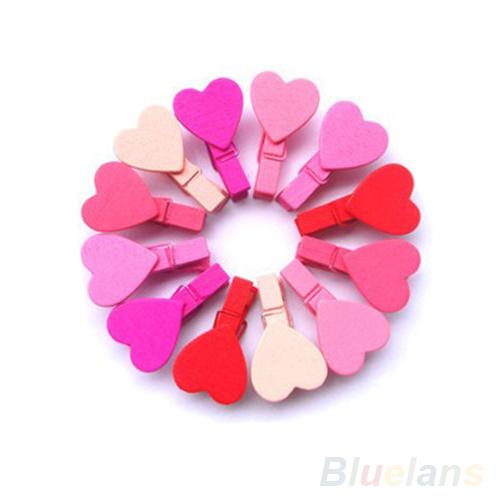 12Pc/BAG Mini Heart Love Wooden Clothes Photo Paper Peg Pin Clothespin Craft Clips 1O5H(China (Mainland))
