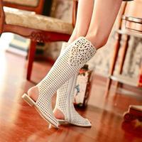 2014 Wholesale summer women's luxury open toe rhinestone flat heel cool casual boots